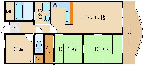 L型カウンターキッチン!! 藤井寺駅近く   ハイツサングリーン