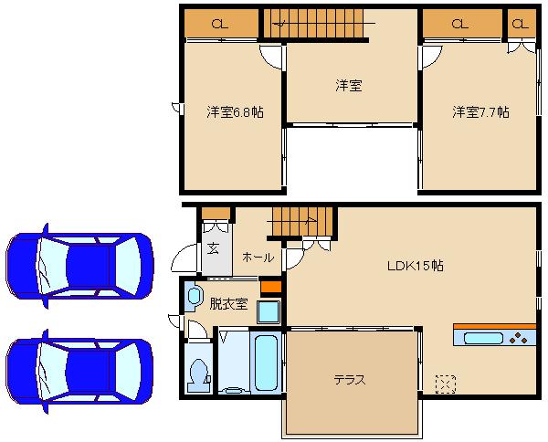 ペット可の築浅戸建!駐車場2も台込み♪ 閑静な住宅街です。  ECRU Habikino B