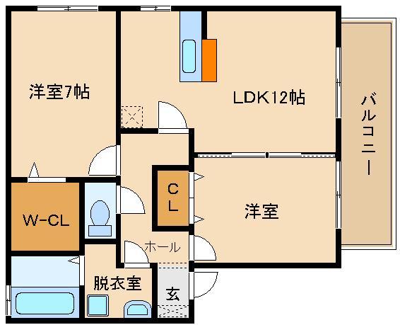 収納広々(W-CL)のオール洋室2LDKです。 人気のカウンターキッチン  ソシア城山A