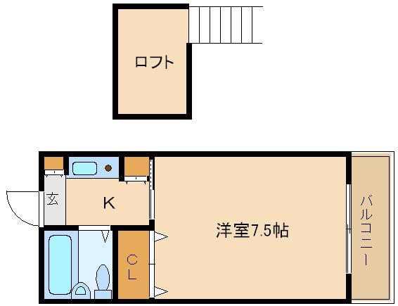 高見ノ里駅 ロフト付きの1K  ペパーミント