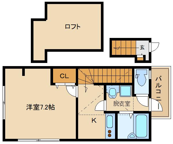 2口ガスキッチン。ロフト付です♪ 全室、角部屋設計です♪  あんしん+大井