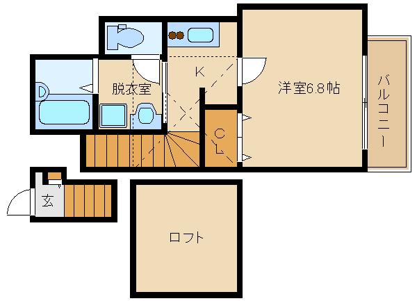 2口ガスキッチン。ロフト付です♪セキュリティ付き。 全室、角部屋設計です♪  あんしん+国府