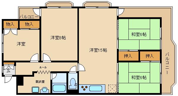 広々15帖の4LDK♪家具家電付です。 分譲マンション!  藤井寺グリーンハイツ