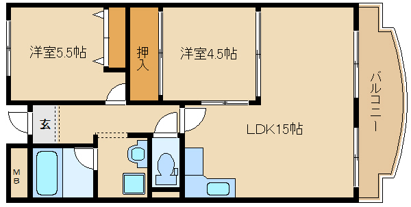 RC造の2LDKマンションです!! RC造なので、遮音性・機密性に優れたマンションです!!  メゾンドール向陽